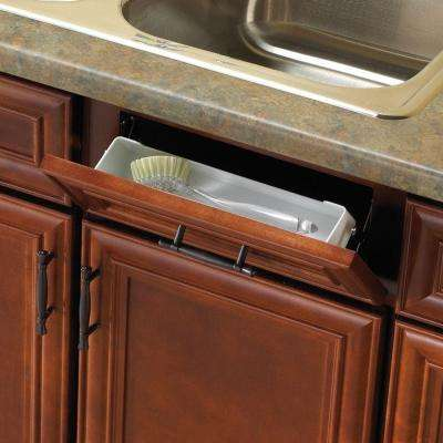 11 in. White Sink Front Tray with Scissor Hinges Cabinet Organizer