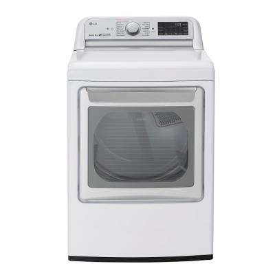 7.3 cu. ft. Ultra Large Smart Front Load Electric Dryer with EasyLoad Door, TurboSteam, and Wi-Fi Enabled in White