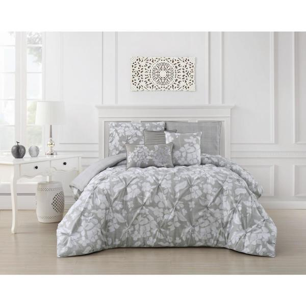 6cac4c8e2 undefined Jacqueline 6-Piece Pinch Pleat Light Gray King Comforter Set
