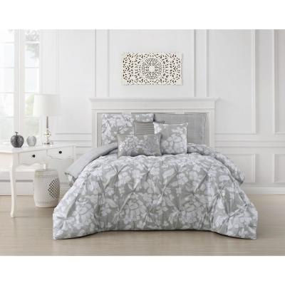 Jacqueline 6-Piece Pinch Pleat Light Gray Queen Comforter Set