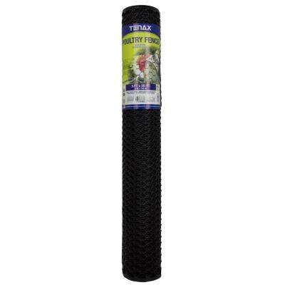 3 ft. x 25 ft. Black Poultry Hex Fence