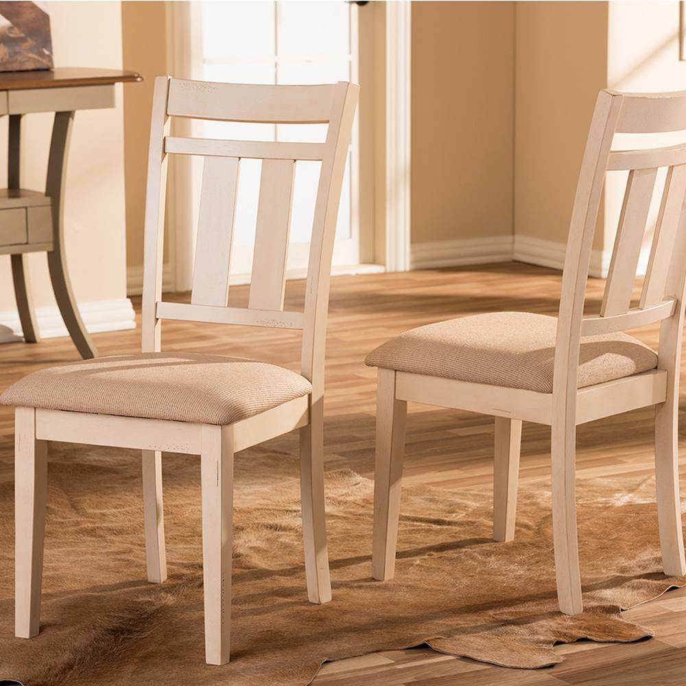 Superb Baxton Studio Roseberry Beige Fabric And Distressed Wood Gmtry Best Dining Table And Chair Ideas Images Gmtryco