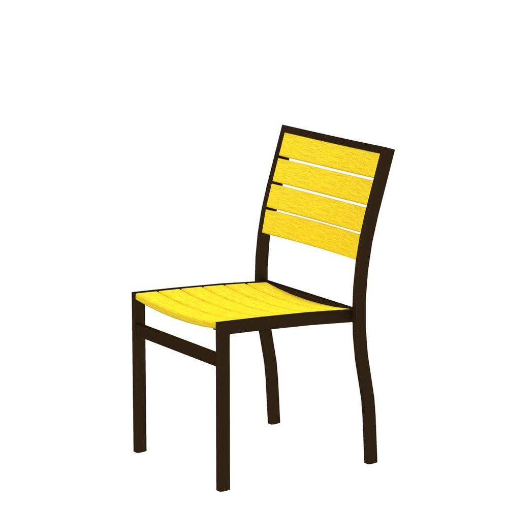 Euro Textured Bronze Plastic Outdoor Patio Dining Side Chair with Lemon