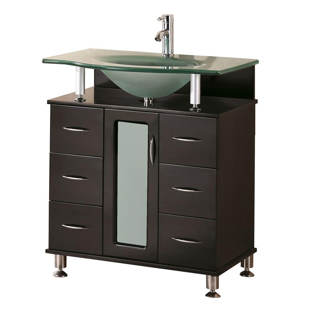 Design Element Huntington 30 in. W x 22 in. D Vanity in Espresso with Glass Vanity Top in Aqua