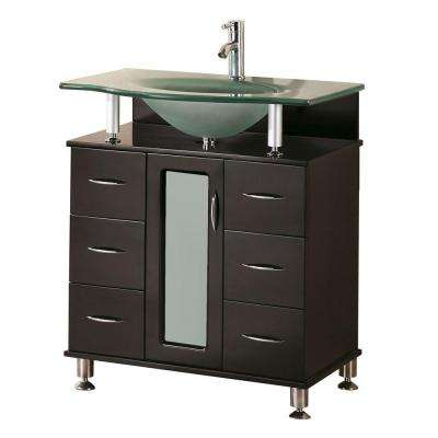 Huntington 30 in. W x 22 in. D Vanity in Espresso with Glass Vanity Top in Aqua
