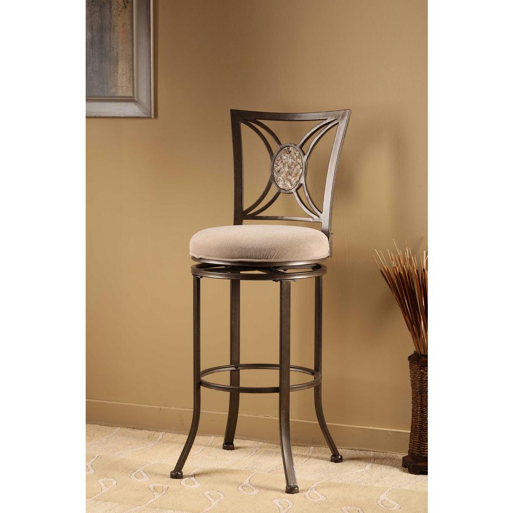 Silver brown swivel cushioned bar stool