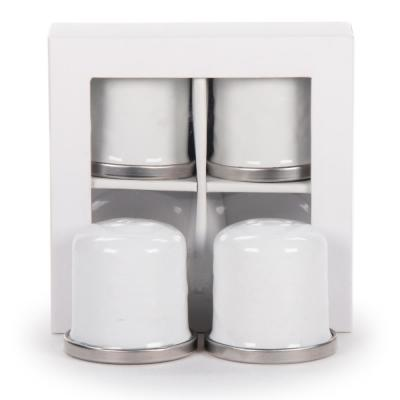Solid White Enamelware Salt and Pepper Shakers (Set of 2)