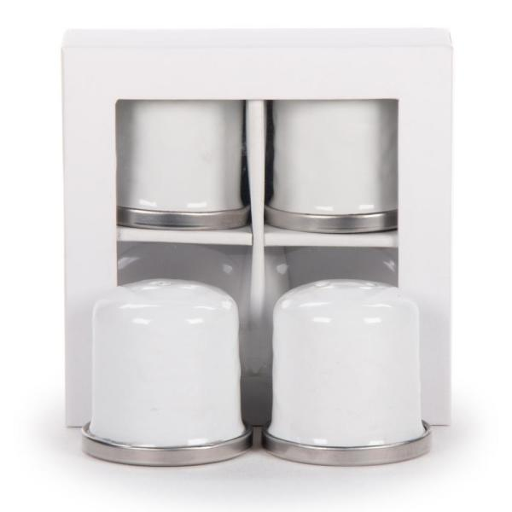 Golden Rabbit Solid White Enamelware Salt and Pepper Shakers (Set of