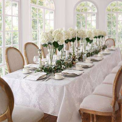 60 in. W x 102 in. L White Elrene Barcelona Damask Fabric Tablecloth