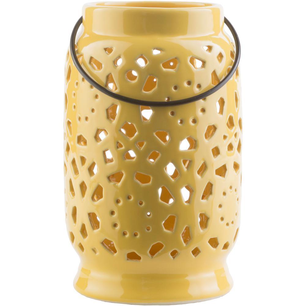 Kimba 9.4 in. Mustard Ceramic Lantern
