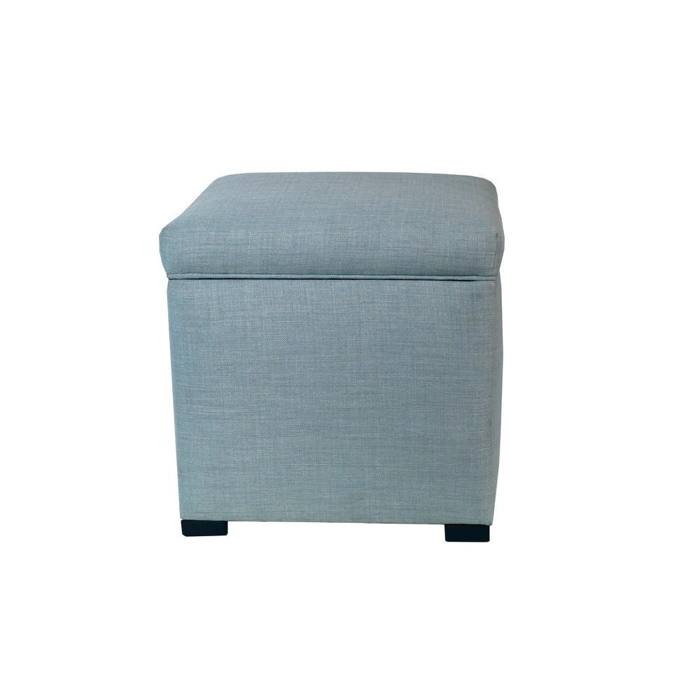 Sole Secret Mini Bluish Square Upholstered Shoe Storage Ottoman