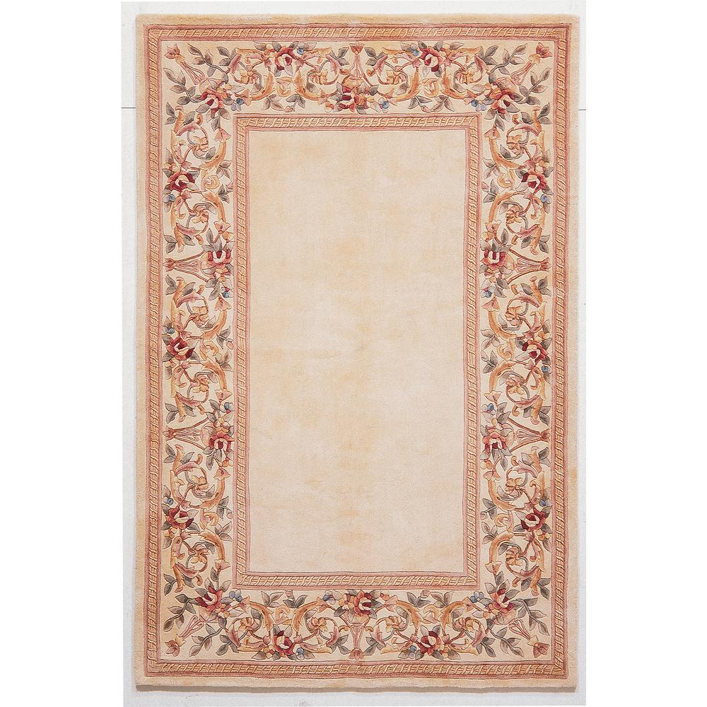 Kas Rugs Lush Floral Border Ivory 3 ft. x 5 ft. Area Rug This Kas Rugs 3 ft. x 5 ft. Area Rug will be a great welcoming touch to your home. This tufted rug has a stain-resistant design and fade-resistant materials, which ensure that it won't discolor. It comes in an ivory shade, adding a touch of minimalist elegance. With a 100% wool construction, it feels great beneath your feet. It does not off-gas VOCs, making it an eco-friendly option for your living area. This rug features an oriental pattern for a designed statement piece that always stays in style.