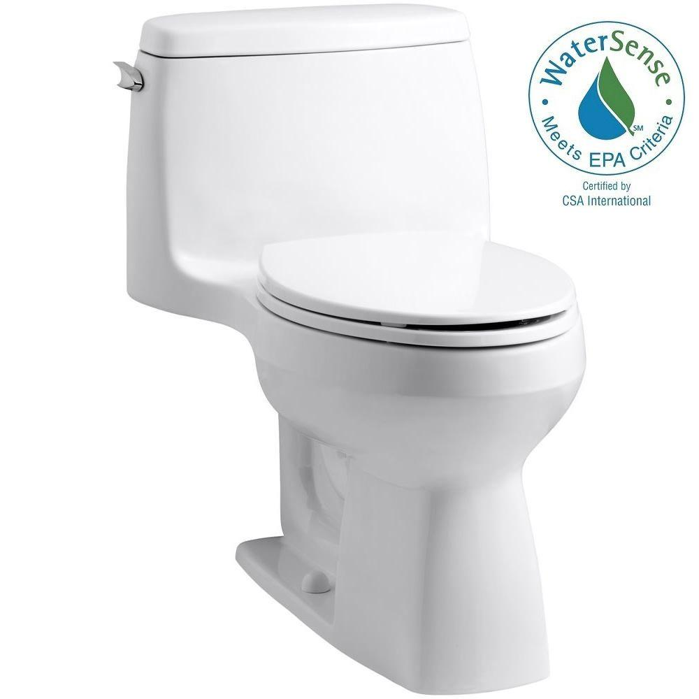 KOHLER Santa Rosa Comfort Height 1-piece 1.28 GPF Compact Single Flush Elongated Toilet in White