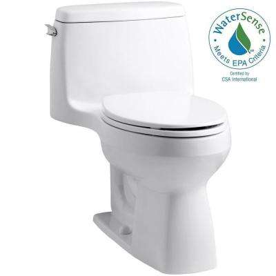 Santa Rosa Comfort Height 1 Piece 1.28 GPF Compact Single Flush Elongated  Toilet In White