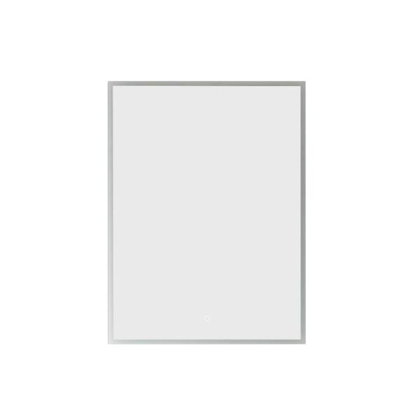 Perma 24 in. W x 32 in. L Rectangular Surface-Mount LED Glass Surface Mount Medicine Cabinet with Mirror in Silver