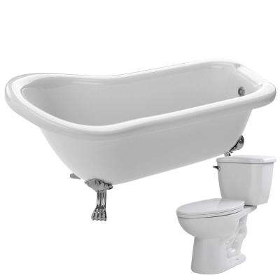 Pegasus 66.93 in. Acrylic Clawfoot Non-Whirlpool Bathtub in White with Kame 2-Piece 1.28 GPF Single Flush Toilet
