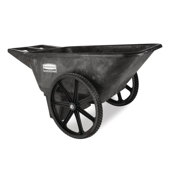 Rubbermaid Commercial Products 7 5 Cu Ft Plastic Yard Cart Fg564200bla The Home Depot