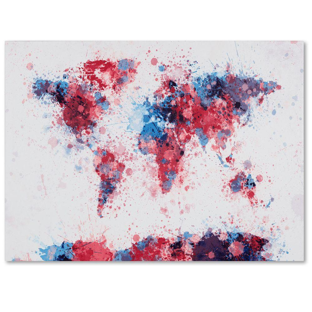 "Trademark Fine Art 14 in. x 19 in. ""Paint Splashes World Map"" Canvas Art"