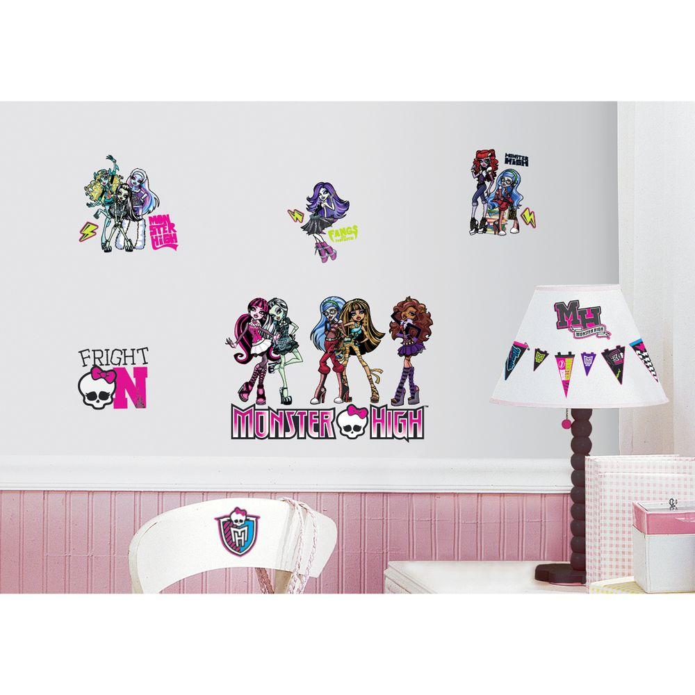null 10 in. x 18 in. Monster High 37-Piece Peel and Stick Wall Decals
