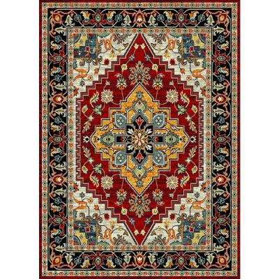 Aiza Collection Red 7 ft. 10 in. x 9 ft. 10 in. Area Rug