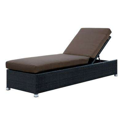 Albee I Espresso Wicker Outdoor Chaise Lounge with Brown Cushions