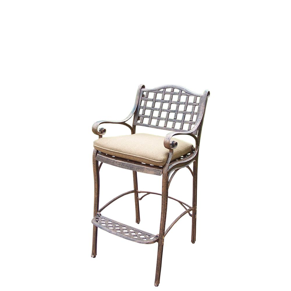 Elite Cast Aluminum Outdoor Bar Stool with Foot-Rest and Spun Polyester