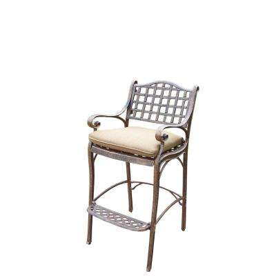 Elite Cast Aluminum Outdoor Bar Stool with Foot-Rest and Spun Polyester Cushion