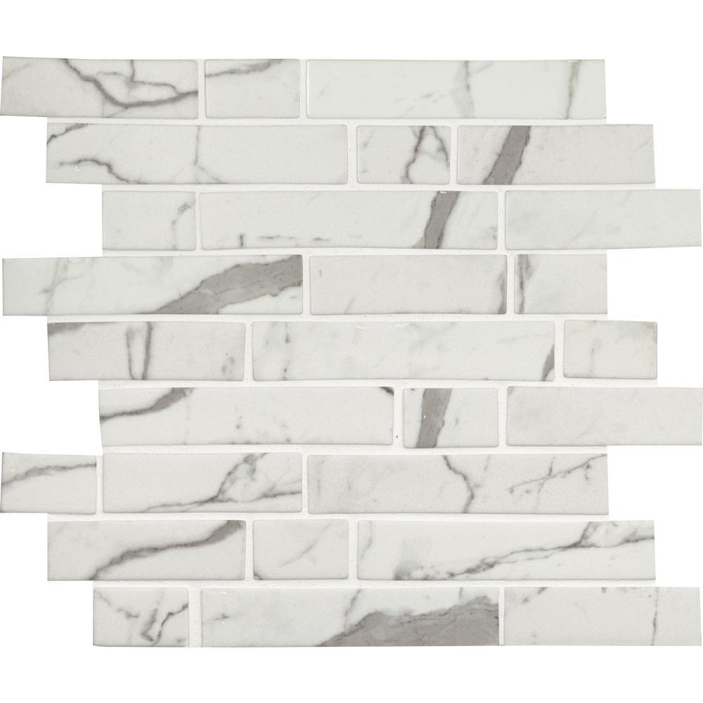 MSI Statuario Celano Interlocking 11.81 in. x 11.81 in. x 6mm Glass Mesh-Mounted Mosaic Tile (14.55 sq. ft. / case)
