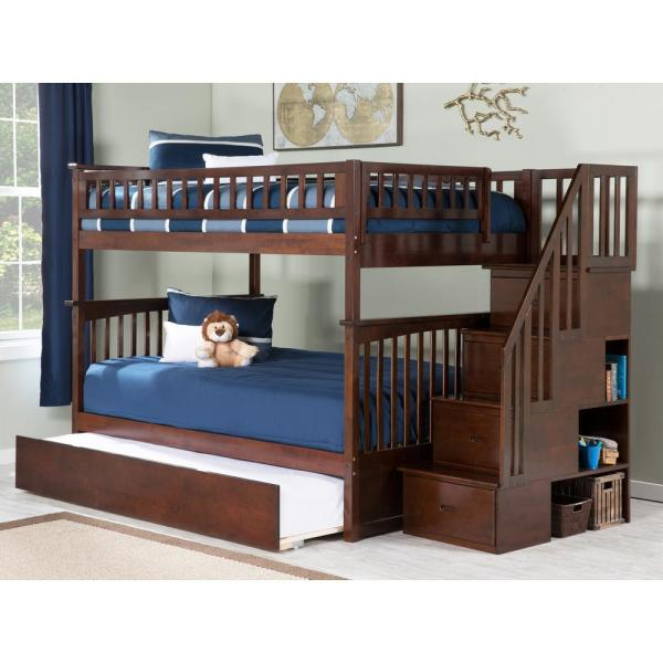 Atlantic Furniture Columbia Staircase Walnut Full Over Full Bunk Bed With Twin Urban Trundle Bed Ab55854 The Home Depot