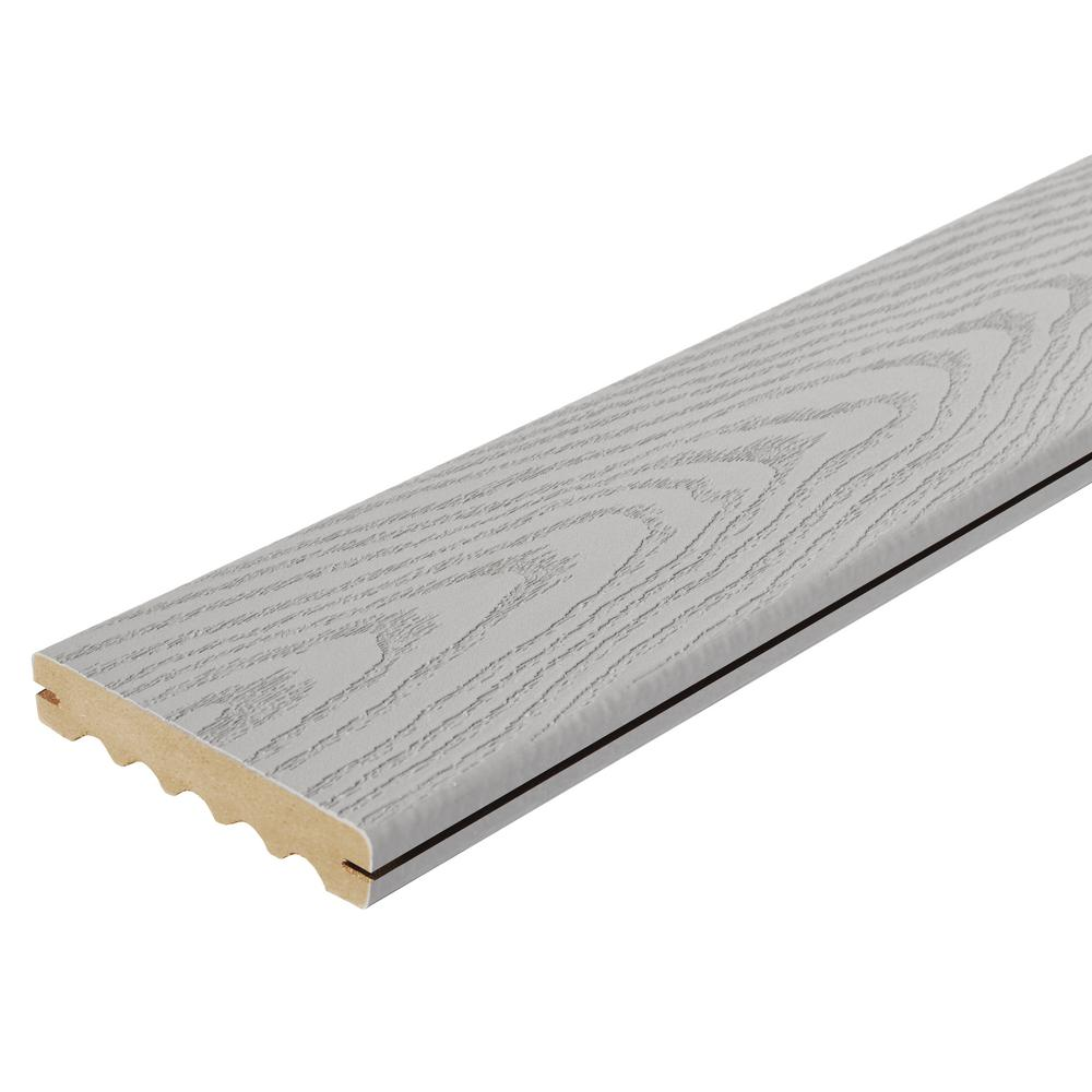 Veranda 1 in. x 6 in. x 16 ft. Gray Grooved Edge Capped Composite Decking Board