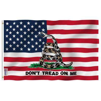 Fly Breeze 3 ft. x 5 ft. Polyester Gadsden American Flag 2-Sided Flags Banner with Brass Grommets and Canvas Header