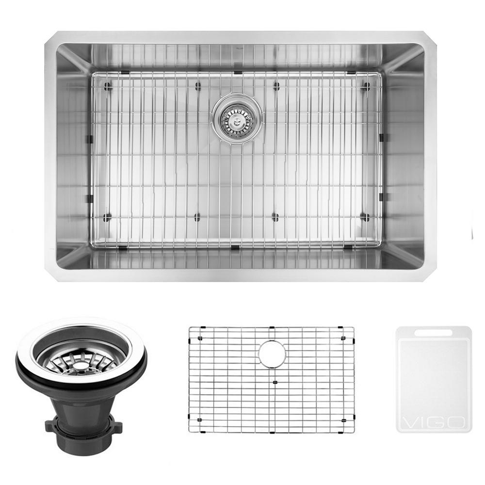 VIGO Mercer Undermount Stainless Steel 32 in. 0-Hole Single Bowl Kitchen Sink with 1 Grid, 1 Strainer in Stainless Steel, Silver was $299.9 now $239.9 (20.0% off)
