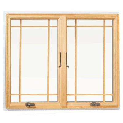 48 in. x 48 in. 400 Series Casement Wood Window with White Exterior and Prairie grilles