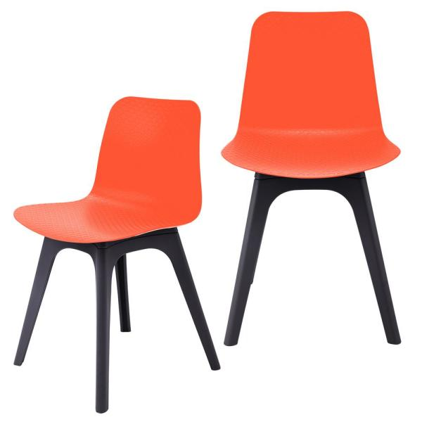 CozyBlock Hebe Series Orange Dining Shell Side Chair Molded Plastic with