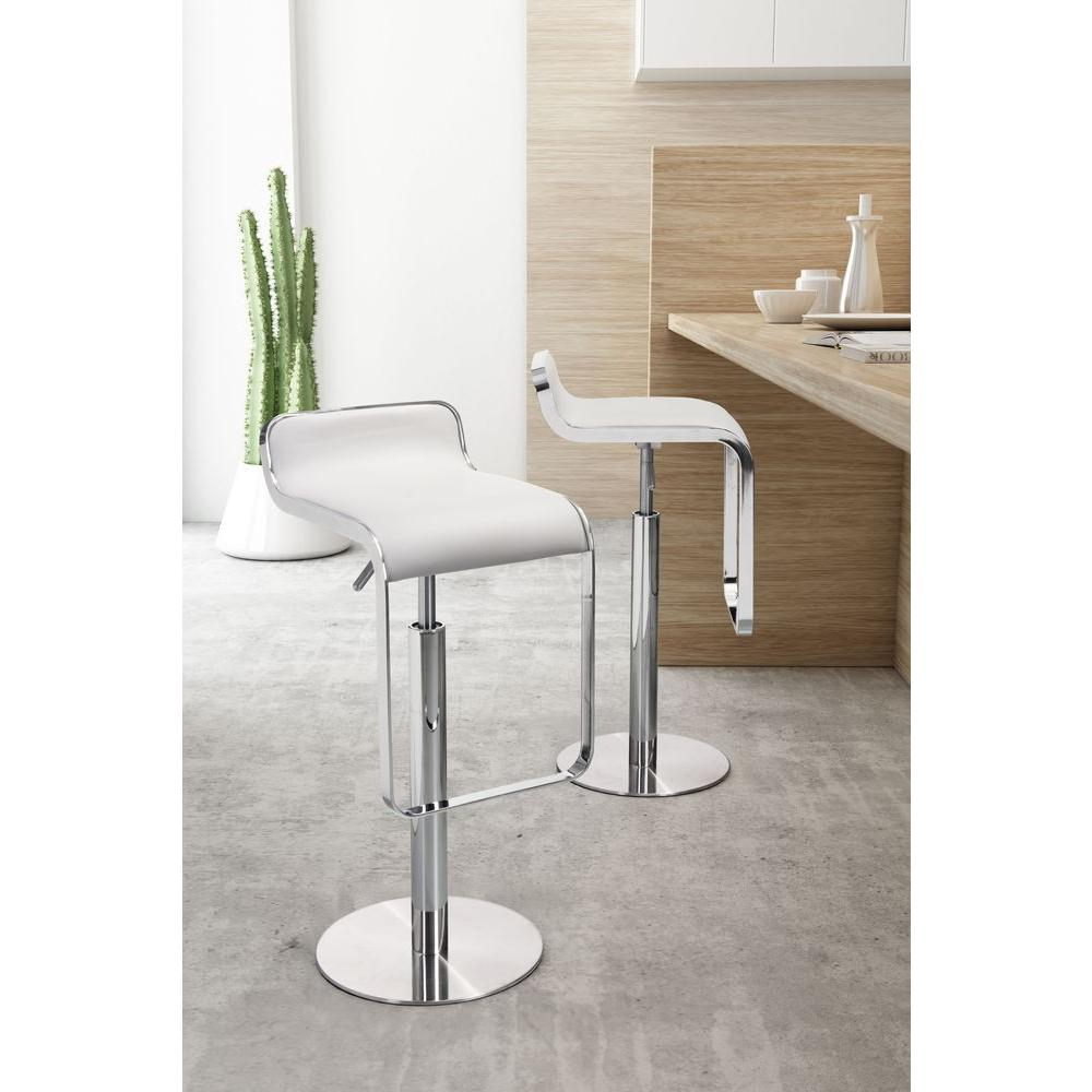 ZUO Adjustable Height White Bar Stool