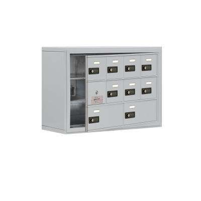 19100 Series 30.5 in. W x 20 in. H x 9.25 in. D 9 Doors Cell Phone Locker Surface Mount Resettable Lock in Aluminum