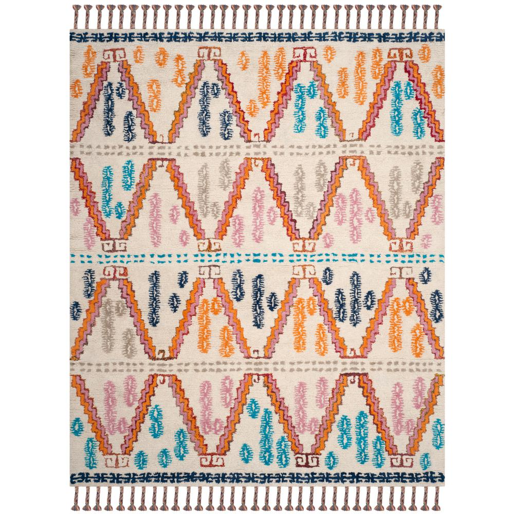 Safavieh Rag Rug Turquoise Multi 8 Ft X 10 Ft Area Rug: Safavieh Casablanca Ivory/Multi 8 Ft. X 10 Ft. Area Rug