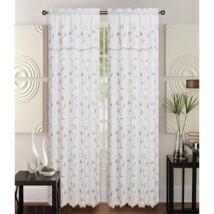 Kashi Home Alma 55 in x 84 in Rod Pocket Curtain Panel in Beige/Taupe by Kashi Home