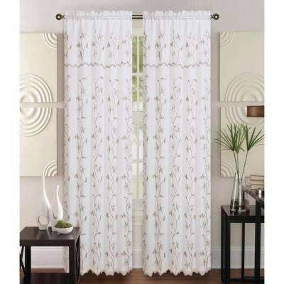 Alma 55 in x 84 in Rod Pocket Curtain Panel in Beige/Taupe