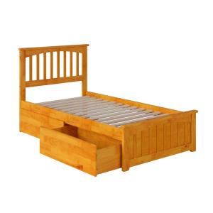 Mission Caramel Twin Platform Bed with Matching Foot Board with 2-Urban Bed Drawers