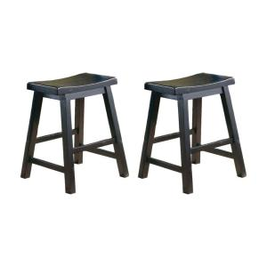 Amazing Benjara Wooden 18 In Counter Height Black Stool With Saddle Machost Co Dining Chair Design Ideas Machostcouk