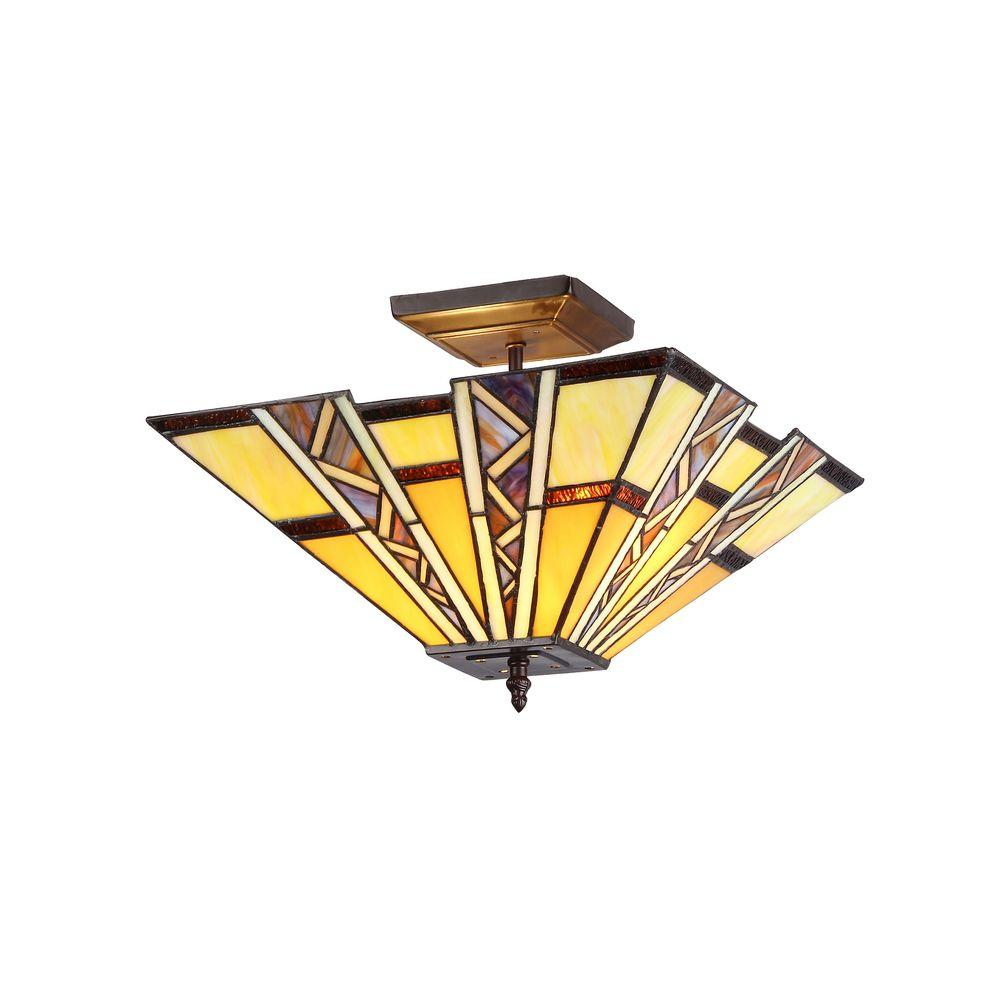 Chloe Lighting Progressive 2-Light Bronze Tiffany Style Mission Semi Flush Mount Ceiling Fixture with 14 in. Shade