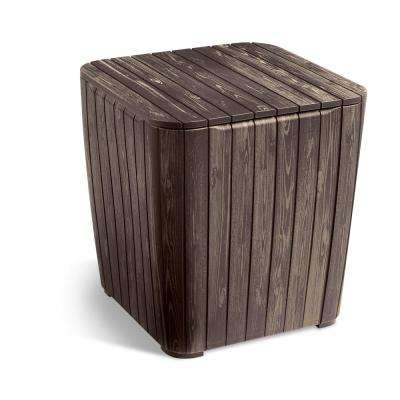Luzon Rezolith Flexitone Brown Outdoor Side Table with Storage