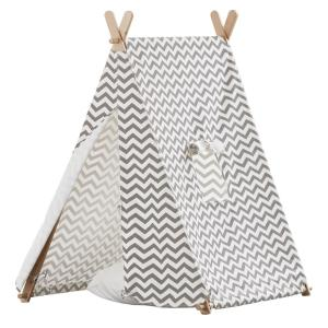 turtleplay Cotton Canvas Grey and White ZigZag Indoor Kids Tent by turtleplay