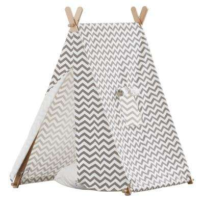 Cotton Canvas Grey and White ZigZag Indoor Kids Tent