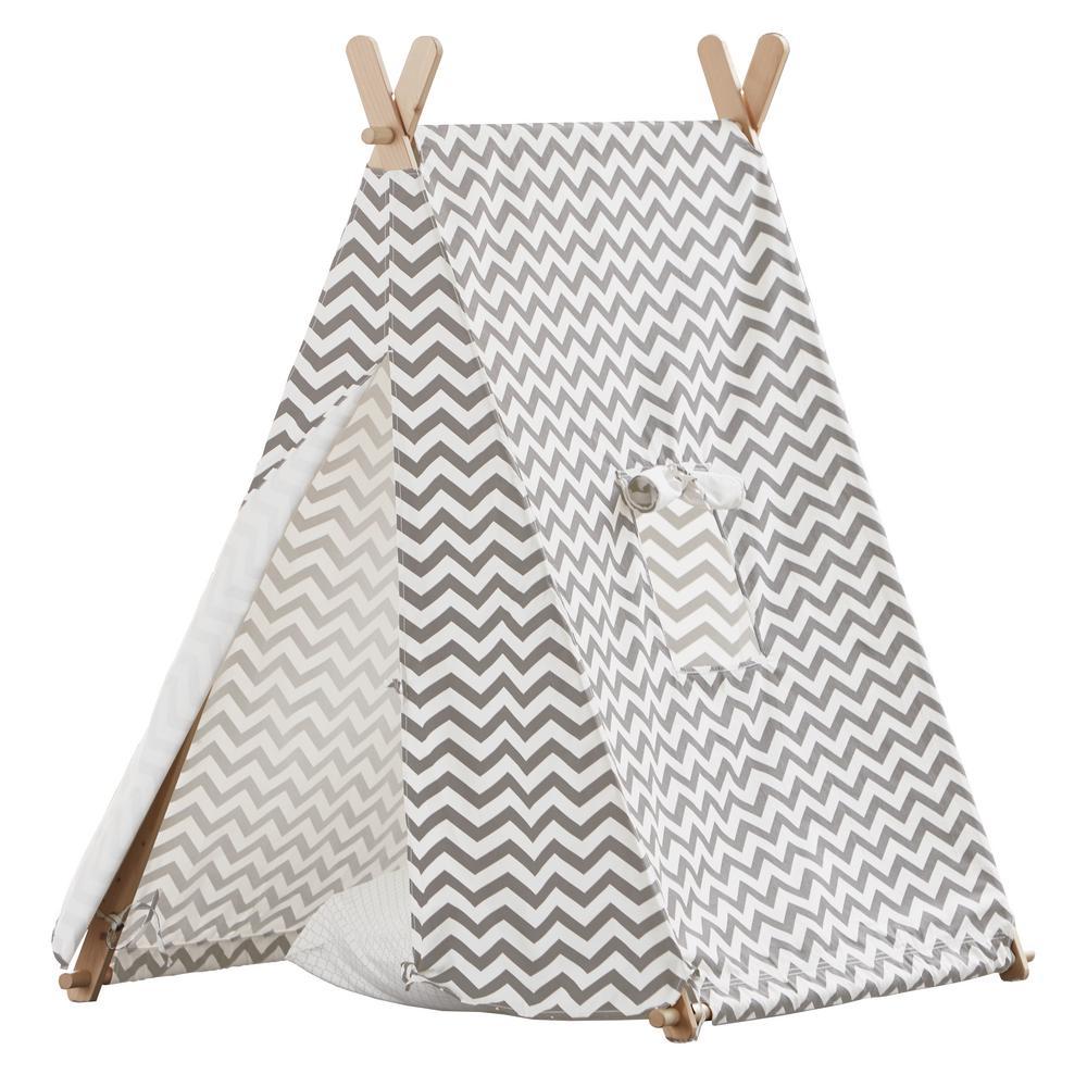 Cotton Canvas Grey and White ZigZag Indoor Kids Tent