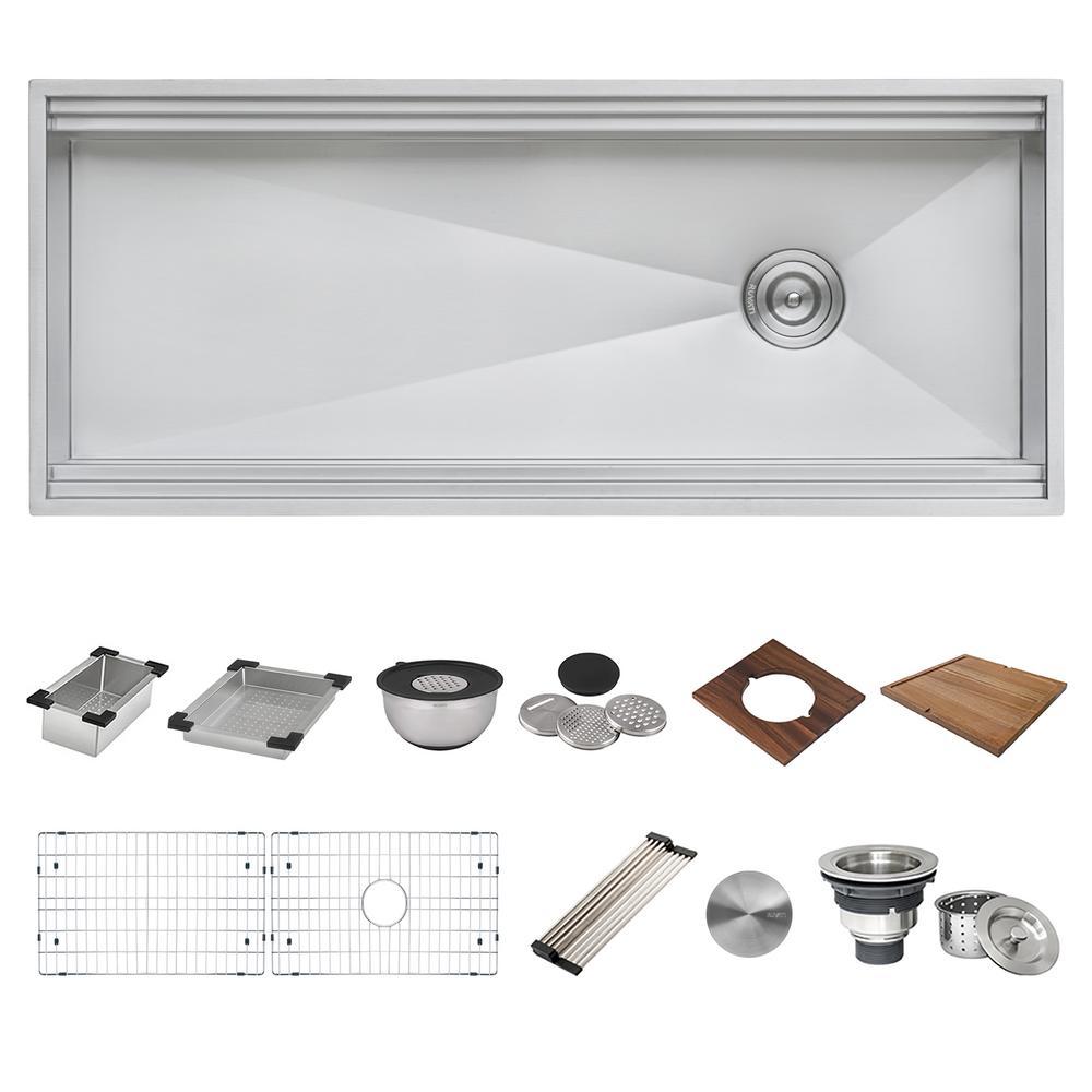 Undermount 16-Gauge Stainless Steel 45 in. Single Bowl Workstation Ledge Kitchen Sink