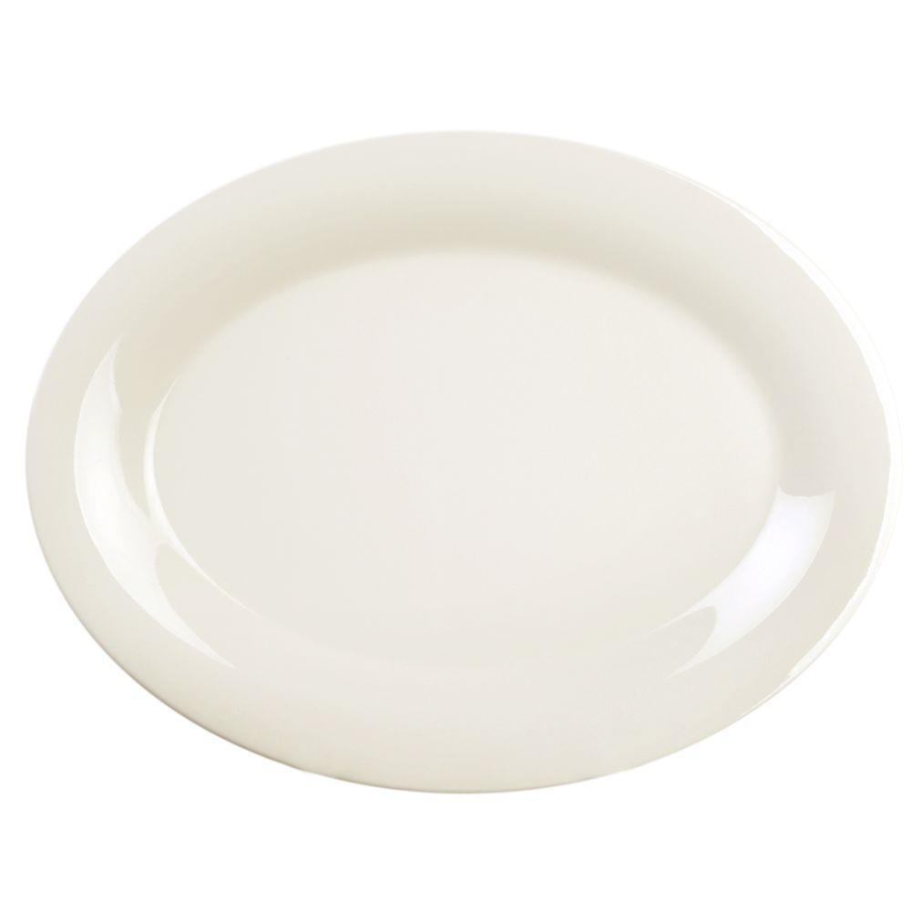 Restaurant Essentials Coleur 9-1/2 in. x 7-1/4 in. Platter in Ivory (12-Piece)