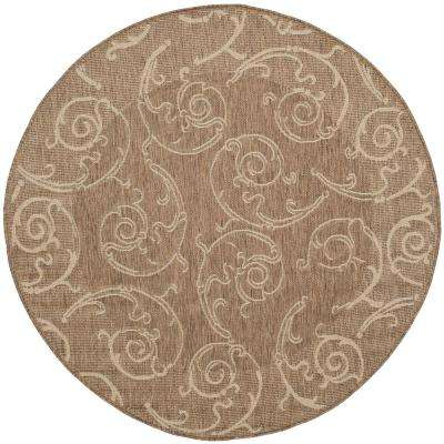 Courtyard Brown/Natural 8 ft. x 8 ft. Indoor/Outdoor Round Area Rug