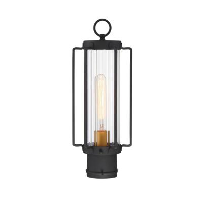 Avonlea Large 1-Light Sand Black with Gold Outdoor Post Lantern